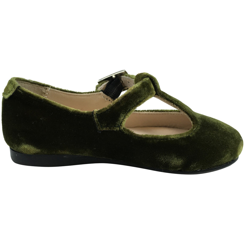 Papanatas by Eli Girl's 6427 Velvet Green T-Strap Buckle Mary Jane Flats - Just Shoes for Kids  - 3