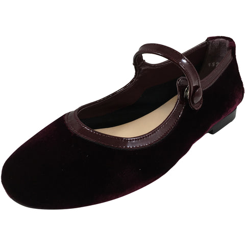 Papanatas by Eli Girl's Burgundy Velvet Mary Jane Snap Flats