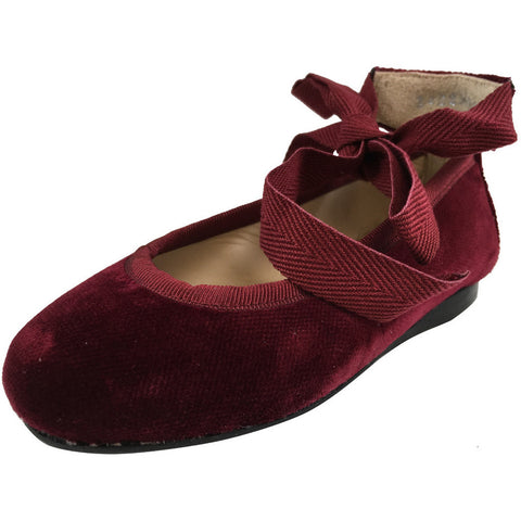 Papanatas by Eli Girl's Cloe Red Ribbon Tie Flats Flats - Just Shoes for Kids  - 1