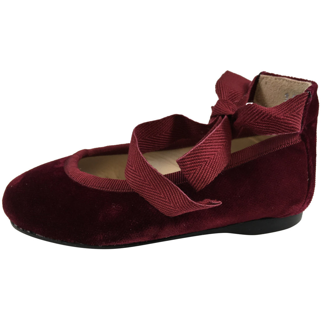 Papanatas by Eli Girl's Cloe Red Ribbon Tie Flats Flats - Just Shoes for Kids  - 2