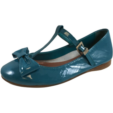 Papanatas by Eli Girl's 6574 Teal Bow Embellished Mary Janes Adjustable T-Straps Flats