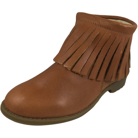 Old Soles Girl's 2012 Ever Boot Tan Leather Fringe Zipper Bootie Shoe - Just Shoes for Kids  - 1