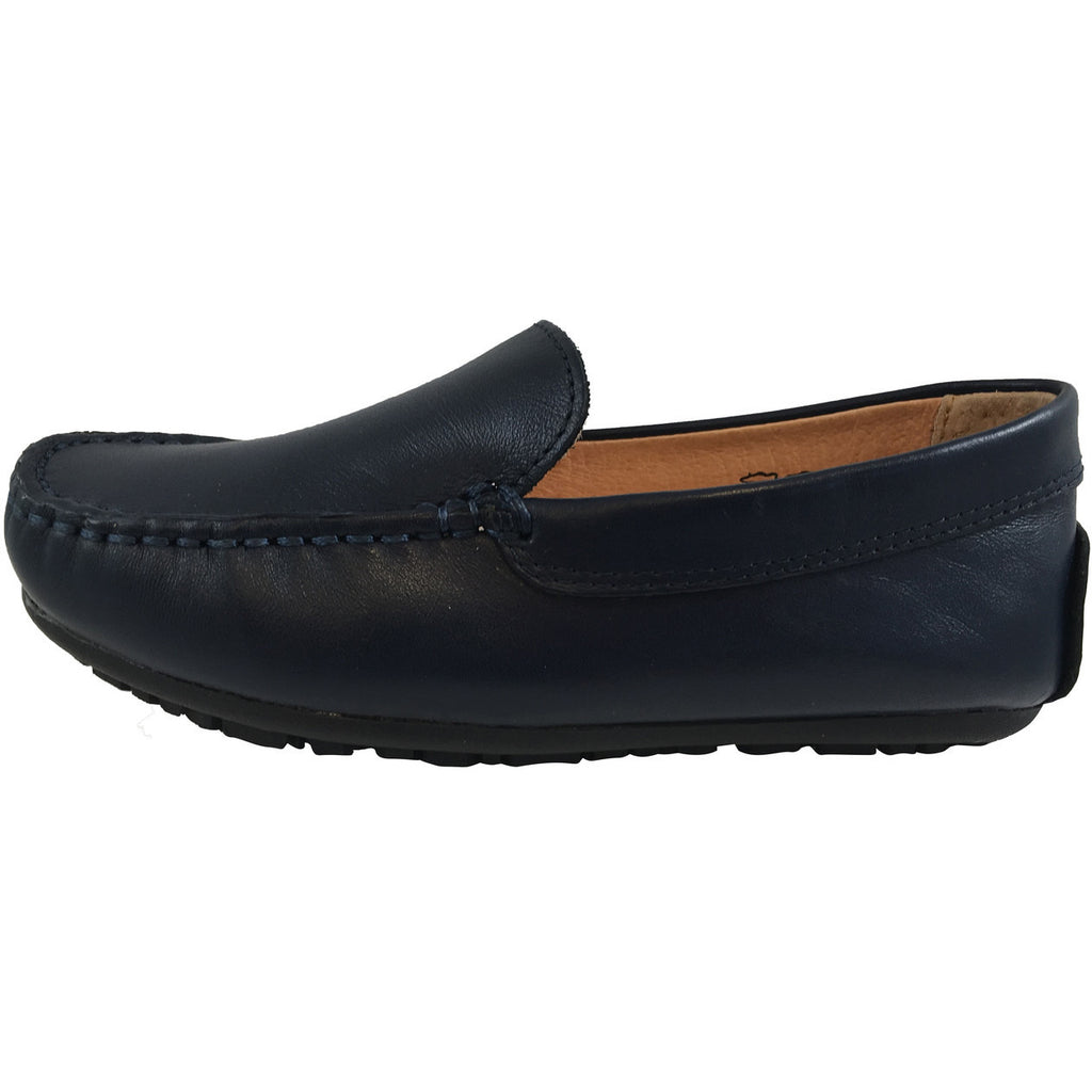 Umi Boy's Saul Leather Classic Slip On Oxford Loafer Shoes Navy - Just Shoes for Kids  - 2