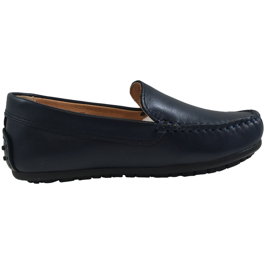 Umi Boy's Saul Leather Classic Slip On Oxford Loafer Shoes Navy - Just Shoes for Kids  - 4