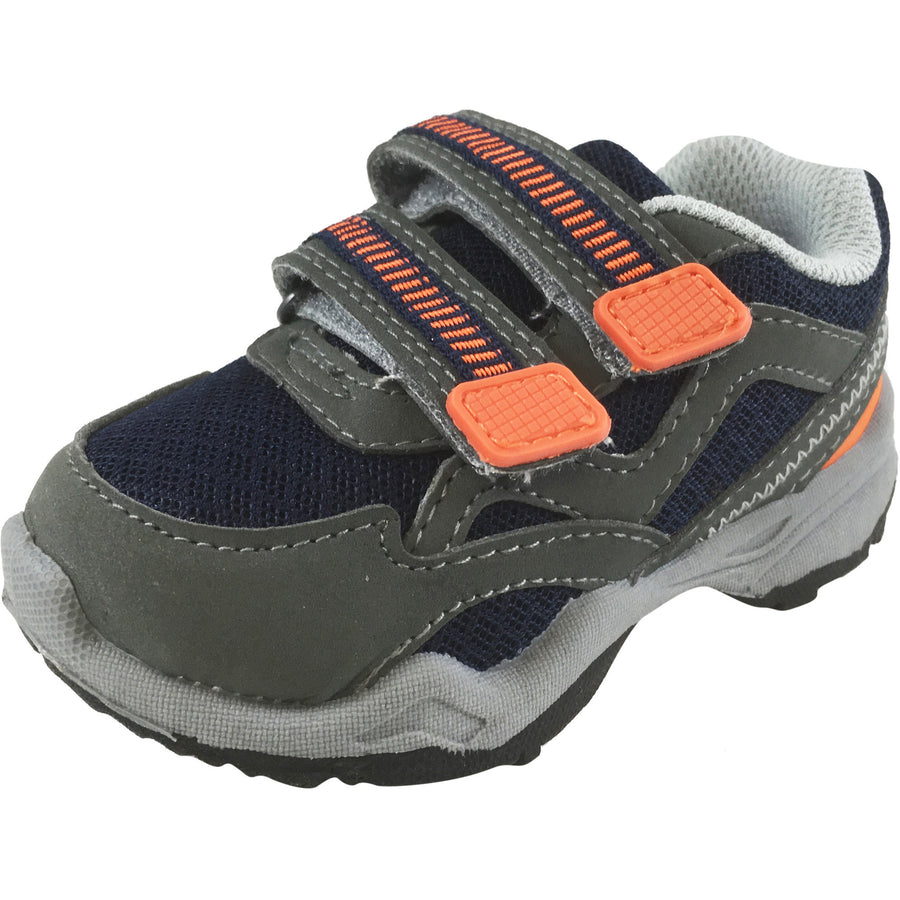 Carter's Boy's Grey Navy Orange Wavy Trail Hiker Double Hook and Loop Sneaker