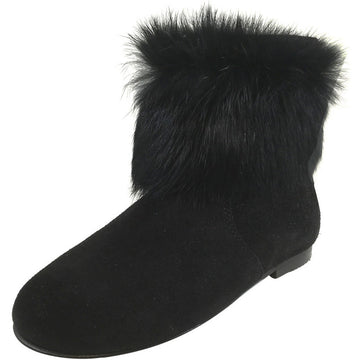 Hoo Shoes Chloe's Girl's Soft Fur Black Zip Up Ankle Bootie Shoe