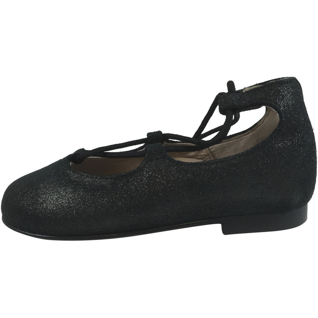 Hoo Shoes Chelia's Girl's Soft Sparkle Ankle Lace Up Ballet Flats Black