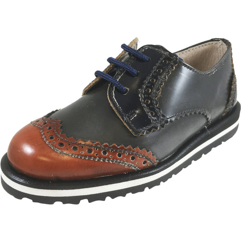 Hoo Shoes Charlie's Boy's Grey Brown Navy Leather Platform Lace Up Oxford Loafer Shoes