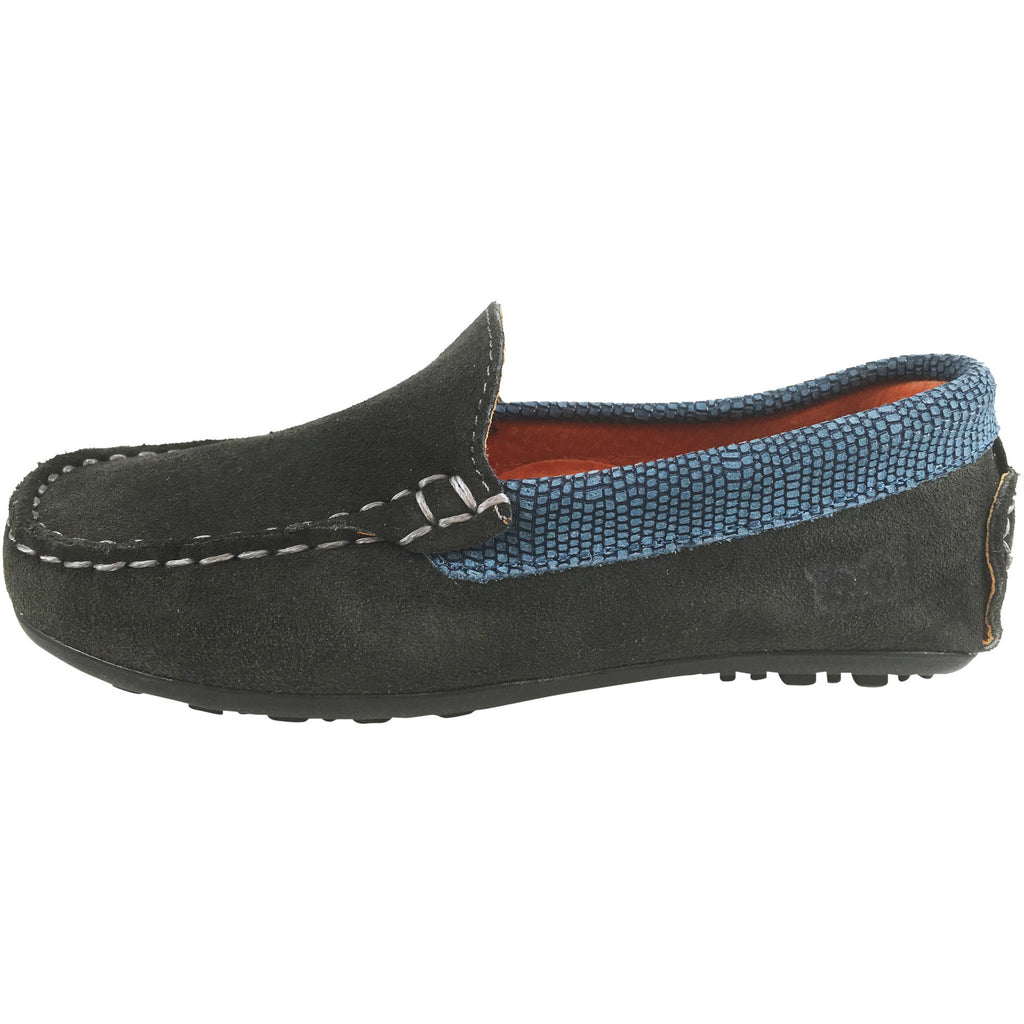 Hoo Shoes Dee's Boy's and Girl's Grey Suede Leather Lizard Trim Slip On Moccasin Shoe