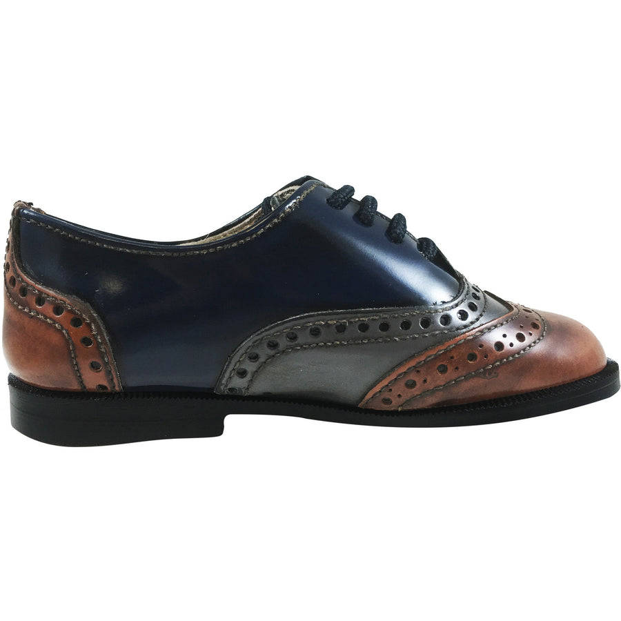 Hoo Shoes Abe's Boy's Brown Grey Navy Tri Color Leather Lace Up Oxford Loafer Shoes