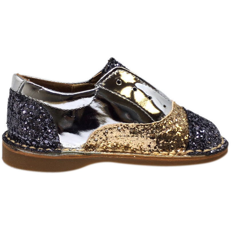 Papanatas by Eli Girl's and Boy's Glitter Multicolor Oxford Slip On Shoes