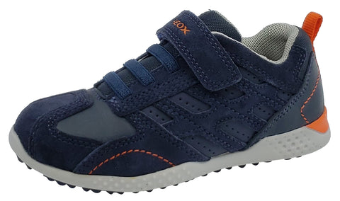 Geox Snake Suede Textile Navy Hook and Loop Sneaker Junior for Boy's