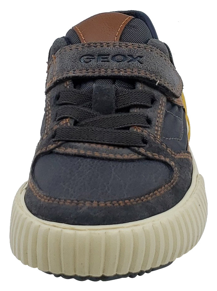 Geox Alonisso Suede Textile Navy Brown Hook and Loop Sneaker Junior for Boy's
