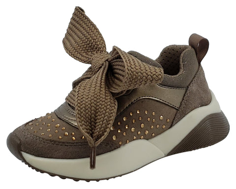 Geox Sinead Dark Beige Pearl Leather Sneaker Junior for Girl's