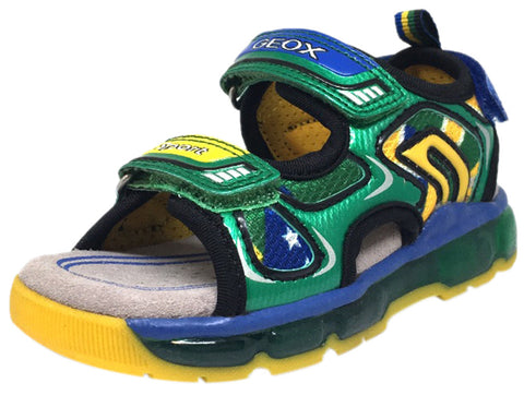 Geox Respira Boy's J Android B Green Triple Hook and Loop Strap Light Up Fisherman Sandal
