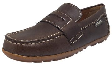 Geox Respira Boy's J Fast Coffee Smooth Leather Upper Detail Stitching Slip On Dress Moccasin Loafer Shoe