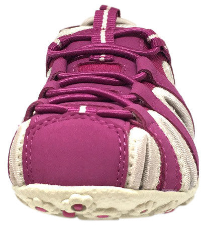 Geox Respira Girl's J S. Roxanne Fuchsia Intricate Elastic Upper Back Hook and Loop Strap Closed Toe Fisherman Sandal