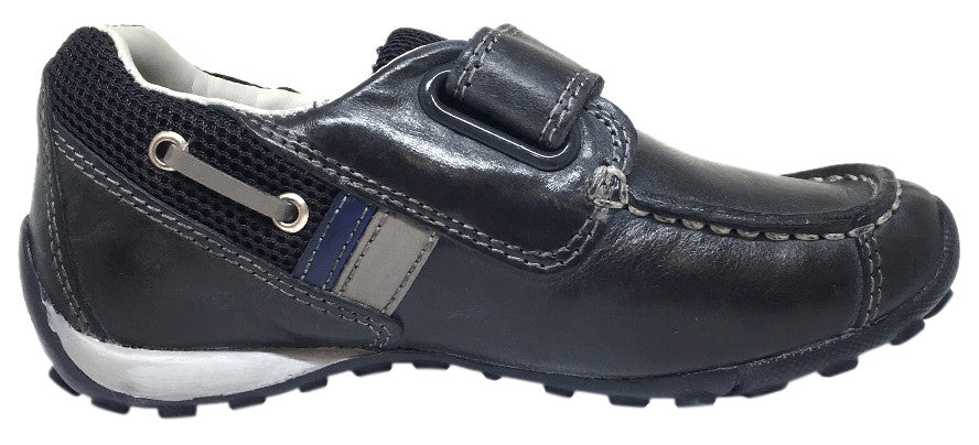 Geox Respira Boy's J Snake Moc Navy Light Grey Leather Hook and Loop Strap Moc Sneaker Boat Shoe
