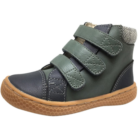 Livie & Luca Boy's and Girl's Jamie Leather Three Hook and Loop High Top Sneakers Charcoal