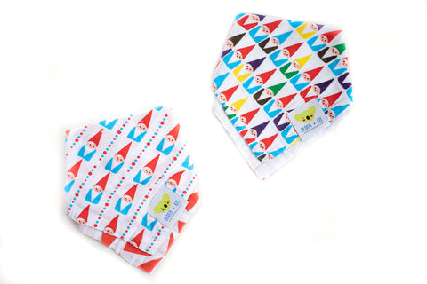 Oliver + Kit 2 Pack - Gnomies Reversible Kerchief Bibs