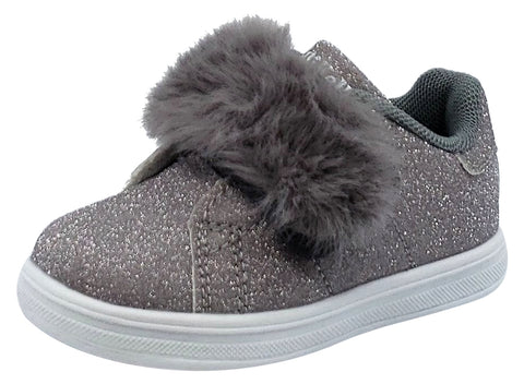 Lelli Kelly Girl's Silver Sparkle Hook and Loop Faux Fur Sneakers