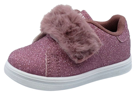 Lelli Kelly Girl's Pink Sparkle Hook and Loop Faux Fur Sneakers