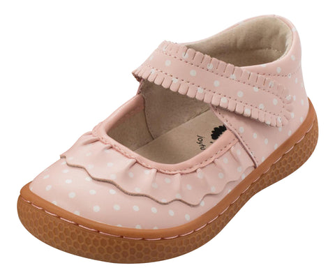 Livie & Luca Girl's Ruche Leather Hook and Loop Mary Jane Shoe, Pink Polka Dot