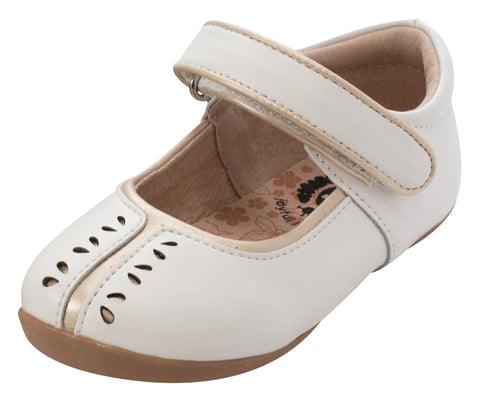 Livie & Luca Girl's Sage Hook and Loop Mary Jane Shoe, Bright White