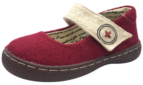 Livie & Luca Girl's Carta II Dark Red Natural Textile Mary Jane Shoe with Hook and Loop Closure