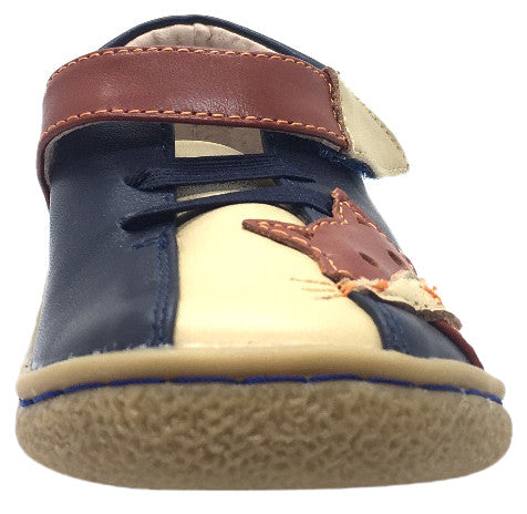 Livie & Luca Boy's Fox Navy Leather Loafer Sneaker Shoe with Faux Laces and Single Strap