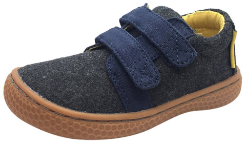 Livie & Luca Boy's Hayes Charcoal & Navy Natural Textile Sneaker Shoe with Double Hook and Loop Straps