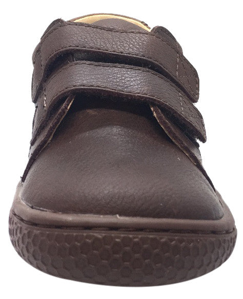 Livie & Luca Boy's Hayes Mocha Brown Natural Leather Sneaker Shoe with Double Hook and Loop Straps