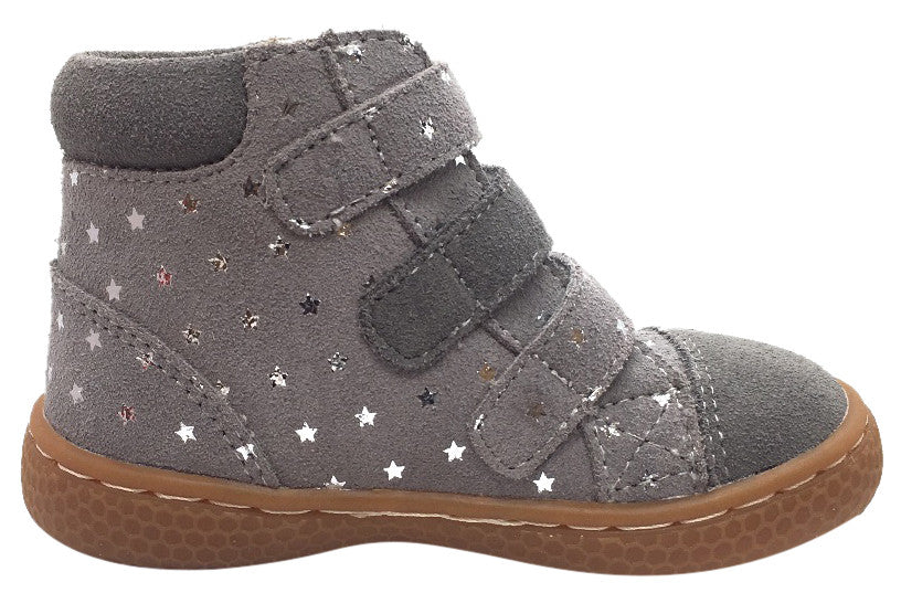 Livie & Luca Girl's Jamie Dusk Grey Starry Suede Triple Hook and Loop High Top Sneakers