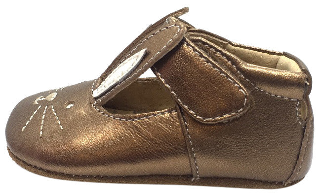 Livie & Luca Girl's Molly Copper Metallic Leather Hook and Loop Mary Jane Shoe