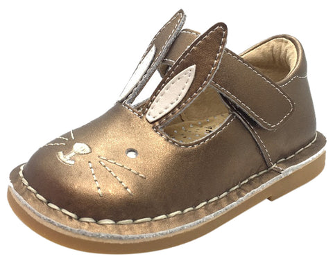 Livie & Luca Girl's Molly Copper Metallic Smooth Leather Bunny Mary Jane Shoe with Hook and Loop Strap