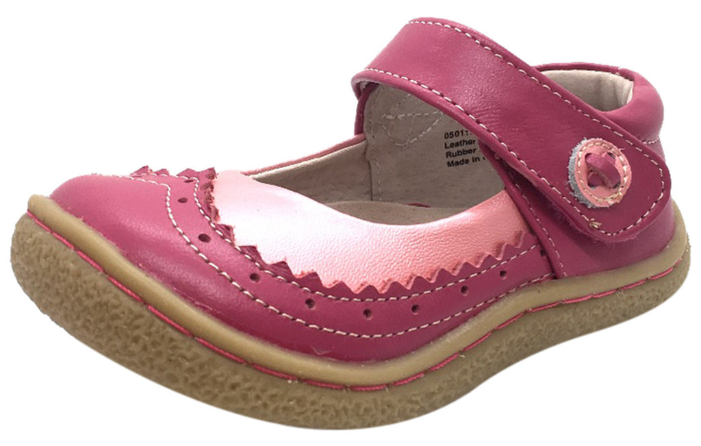 Livie & Luca Girl's Tootles Pink Leather Mary Jane Flat Shoe with Contrasting Upper Trim