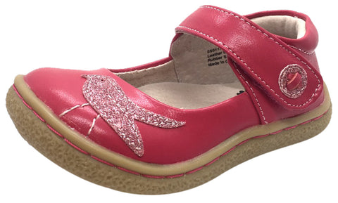 Livie & Luca Girl's Pio Pio Hot Pink Natural Leather Shimmer Dove Hook and Loop Mary Jane Shoes