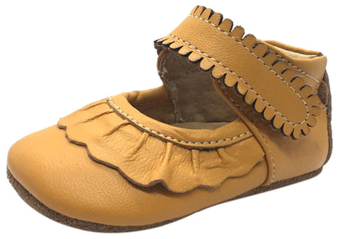 Livie & Luca Girl's Ruche Ruffled Butterscotch Leather Hook and Loop Mary Jane Shoe