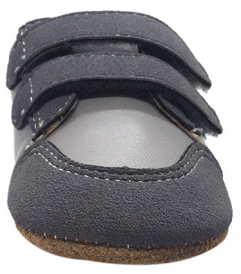 Livie & Luca Boy's & Girl's Sagan Smooth and Suede Gray Leather Double Strap Sneaker Shoe with Hook and Loop Closure
