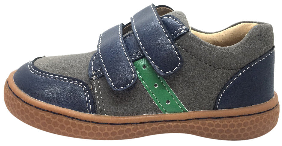 Livie & Luca Boy's Sagan Navy & Green Leather Sneaker Shoe with Double Hook and Loop Straps