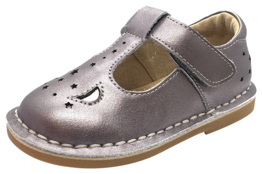 Livie & Luca Girl's Mae Pewter Metallic Shimmer Leather Moon & Stars Mary Jane Shoe with T-Strap Closure