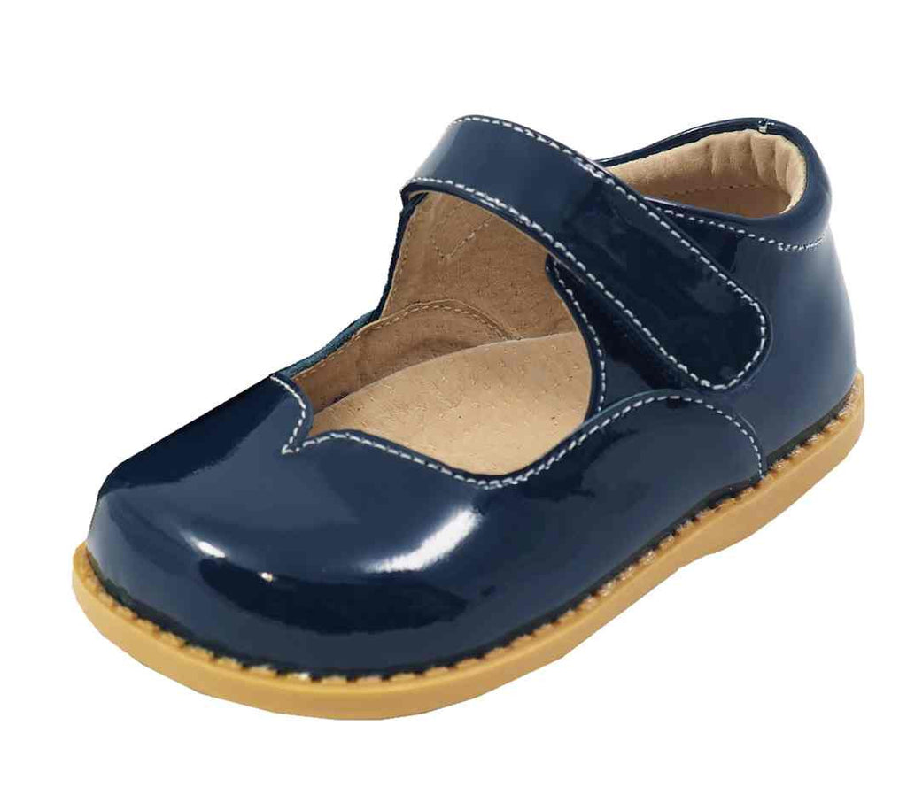 Livie & Luca Girl's Astrid Midnight Blue Patent Leather Mary Jane Shoe with Hook and Loop Closure