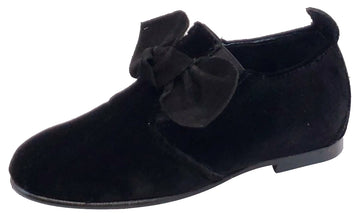 Luccini Girl's Velvet Black Bow Elastic Slip On