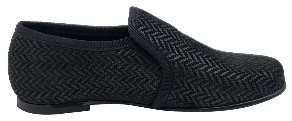 Luccini Spiga 3D Silver Black Leather Slip On Elastic for Boy's
