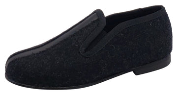 Luccini Girl's and Boy's Splendid Flanel Black Leather Slip On