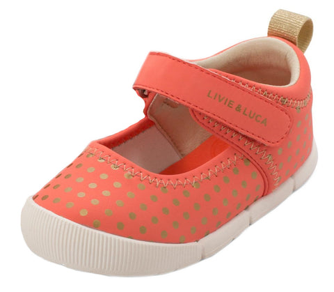 Livie & Luca Girl's Versey Hook and Loop Shoe, Coral Polka Dot