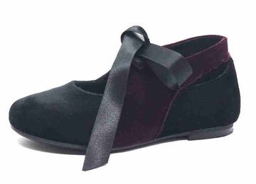 Luccini Girl's Burgundy & Black Two Tone Velvet Ribbon Bow Tie Lace Up Flats