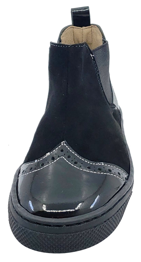 Maria Catalan for Boy's and Girl's Black Patent Suede Leather Elastic Sides Bootie
