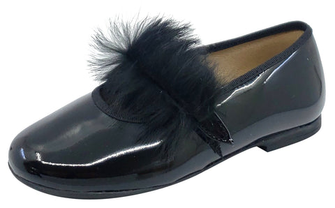 Maria Catalan Girl's Black Patent Leather Fur Detail Mary Jane