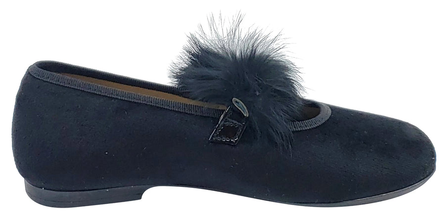 Maria Catalan Girl's Black Velvet Fur Detail Mary Jane